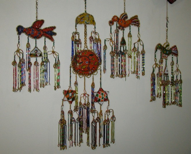 Jambi beaded bird design bed hangings.
