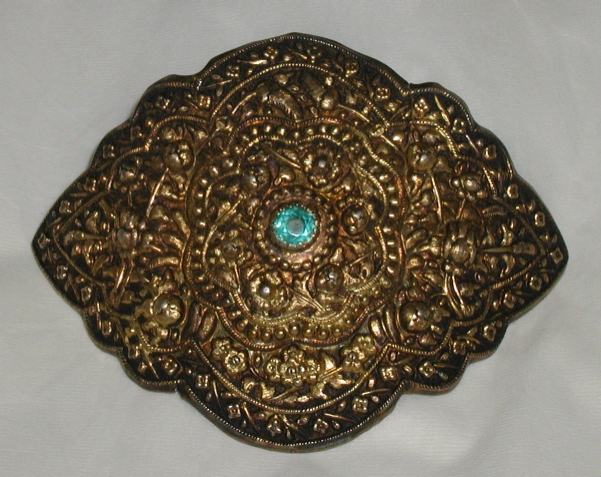 Peranakan Chinese gilded buckle.