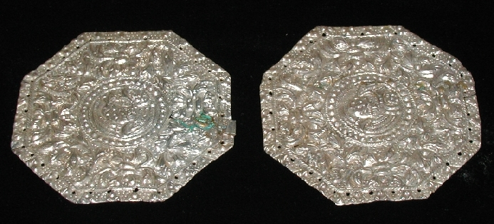 Pair of Octagon silver pillow ends